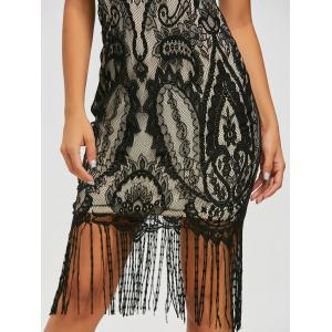 Maxi Fringe Formal Lace Vintage Dress - Noir XL