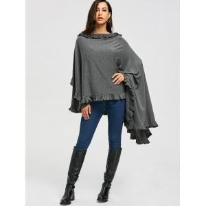 High Low Ruffle Convertible Coat - GRAY 2XL