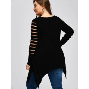 Plus Size Ripped Sleeve Marled Handkerchief Top - BLACK 2XL