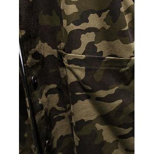 Reversible Style Camouflage Hooded Pockets Coat - ARMY GREEN L