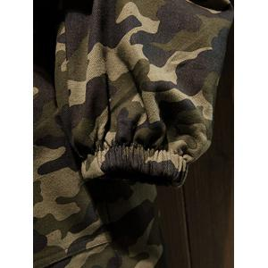 Reversible Style Camouflage Hooded Pockets Coat - BLACK 2XL