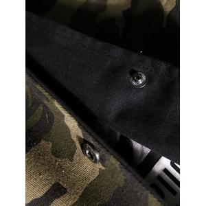 Reversible Style Camouflage Hooded Pockets Coat - BLACK L