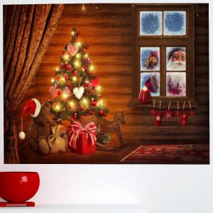 Outside The Window Santa Claus Print Wall Sticker - COLORFUL 1PC:24*24 INCH( NO FRAME )