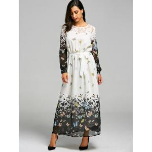 Butterfly Print Lace Insert Maxi Dress -