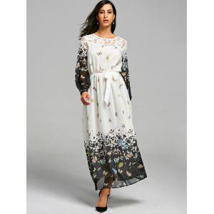 Butterfly Print Lace Insert Maxi Dress - WHITE 2XL