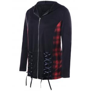 Plaid Panel Plus Size Hooded Lace-up Coat - BLACK XL