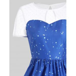 Mesh Panel Sleigh Père Noël Noël Party Dress - Bleu S