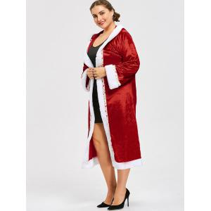 Plus Size Tie Belt Christmas Hooded Coat - RED XL
