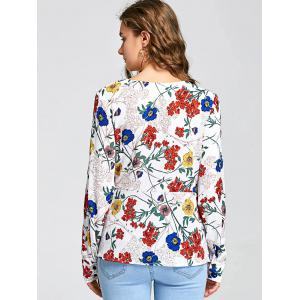 Floral Print Long Sleeve Surplice Blouse -