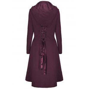 Hooded Plus Size High Low Lace Up Coat -