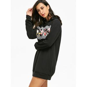 Mini Flocking Floral Print Hoodie Dress -