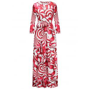 Floor Length Christmas Printed Dress -