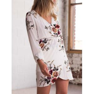 V Neck Flower Print Chiffon Dress -