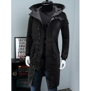 Hooded Longline Padded Cargo Coat -