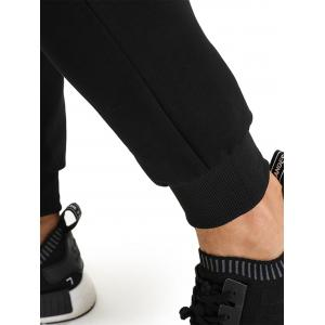 PU Leather Edging Zip Pockets Jogger Pants -