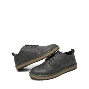 Faux Leather Wingtip Casual Shoes -