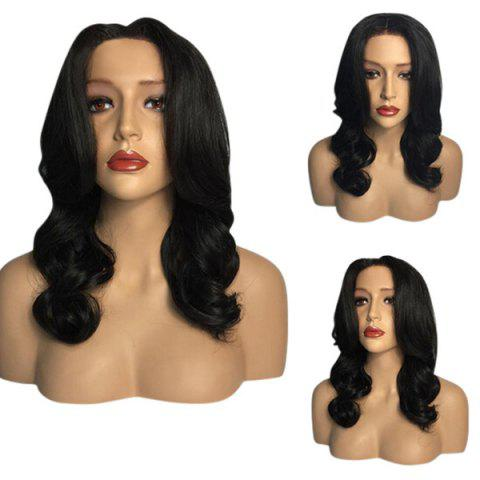 New Middle Part Long Wavy Heat Resistant Synthetic Wig BLACK