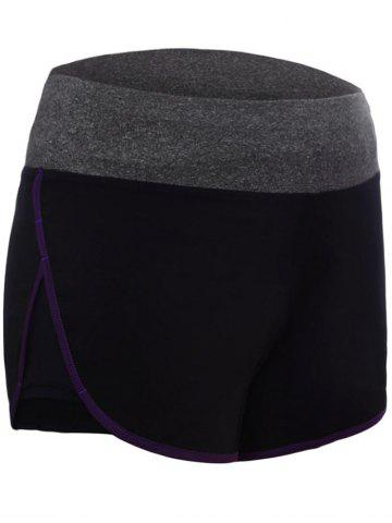 Chic Running Drawstring Waist Dolphin Shorts - L PURPLE Mobile
