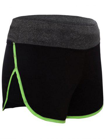 Affordable Running Drawstring Waist Dolphin Shorts - L GREEN Mobile