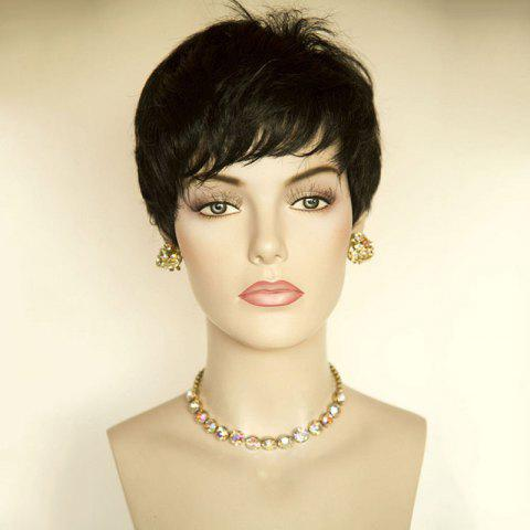 Outfit Short Side Bang Layered Straight Human Hair Wig