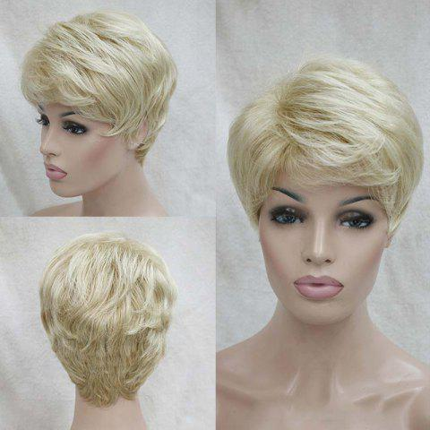 Latest Short Inclined Bang Shaggy Layered Natural Straight Human Hair Wig