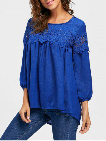Store Lace Insert Scoop Neck High Low Blouse - XL DEEP BLUE Mobile