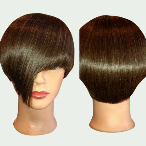 Unique Short Straight Synthetic Wig With Side Long Bang