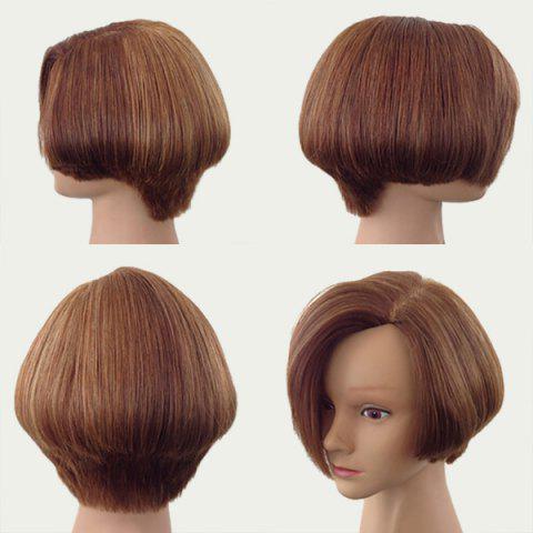 Outfits Side Parting Short Fluffy Straight Bob Synthetic Wig - BROWN  Mobile