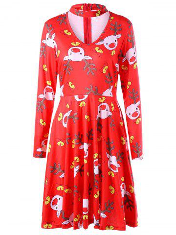 Outfit Ugly Christmas Cut Out Elk Dress - S COLORMIX Mobile