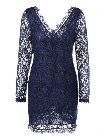 Sale Lace Long Sleeve Plunging Neck Dress - 2XL PURPLISH BLUE Mobile