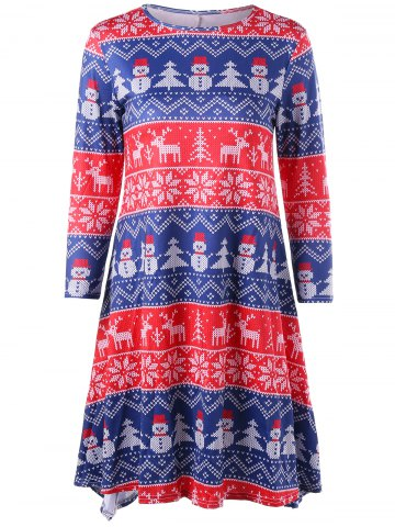 Trendy Christmas Tree Snowman Snowflake Long Sleeve Dress - L COLORMIX Mobile