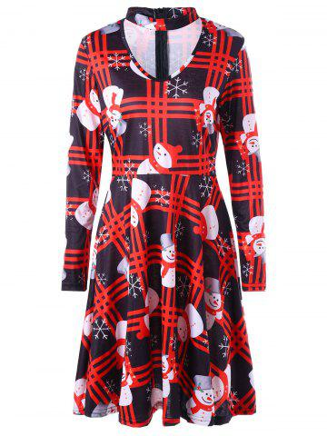 Affordable Christmas Snowman Snowflake Plaid Dress COLORMIX S