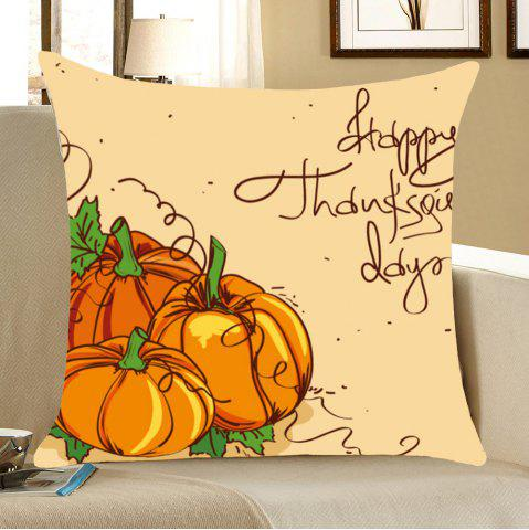 Chic Thanks Giving Days Pumpkin Print Throw Pillow Case