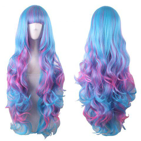 Long Full Bang Fluffy Wavy Colormix Cosplay Lolita Perruque synthétique Multicolore