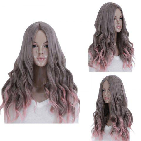 Cheap Long Middle Part Wavy Synthetic Ombre Cosplay Wig COLORMIX