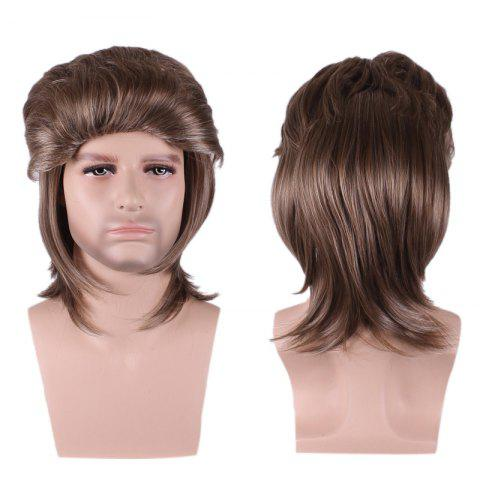 Buy Layered Medium Straight Cosplay Synthetic Man Wig BROWN