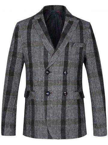 Chic Lapel Tartan Double Breasted Woolen Blazer - 4XL LIGHT GRAY Mobile