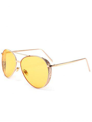 Discount Vintage Metal Frame Carved Pilot Sunglasses LIGHT YELLOW