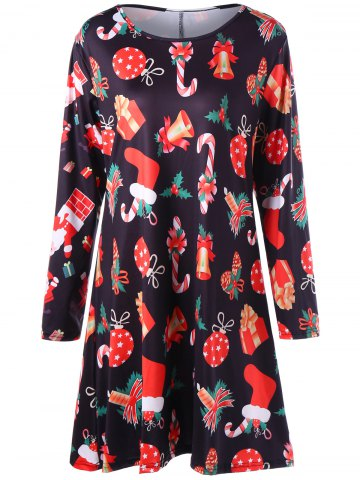 Shop Gift Print Plus Size Christmas Mini Dress