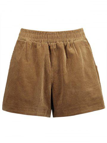 Buy Plus Size Corduroy Shorts with Pocket DARK CAMEL 4XL