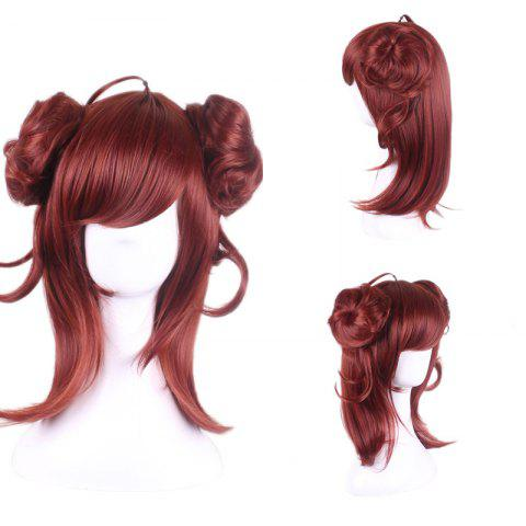 Long Side Bang Two Buns Straight Synthetic Lolita Cosplay Wig Rouge