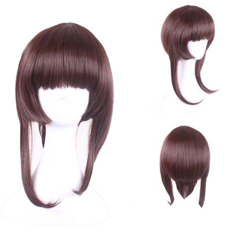 Trendy Long Neat Bang Straight Synthetic Cosplay Lolita Wigs With Temples