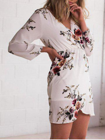 Fashion V Neck Flower Print Chiffon Dress