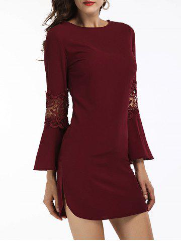 Outfit Bell Sleeve Slit Short Dress WINE RED S