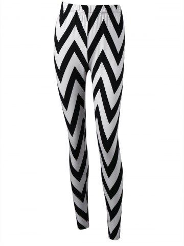 Best Monochrome Zigzag Tight Leggings - M WHITE AND BLACK Mobile