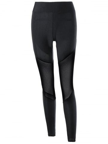Online Mesh Insert Fitted Leggings - L BLACK Mobile