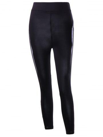 Discount Mesh Insert Skinny Leggings BLACK M