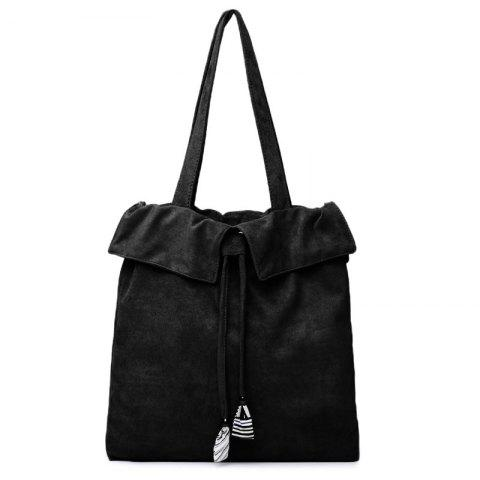 Affordable Striped Drawstring Shoulder Bag - BLACK  Mobile