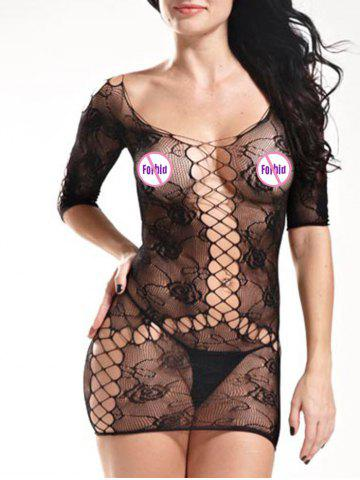 Shop Lingerie Mini Fishnet Openwork Dress