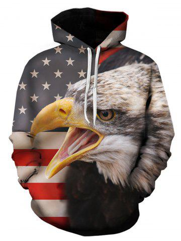 Shops 3D American Flag Eagle Print Pullover Hoodie - 2XL COLORMIX Mobile